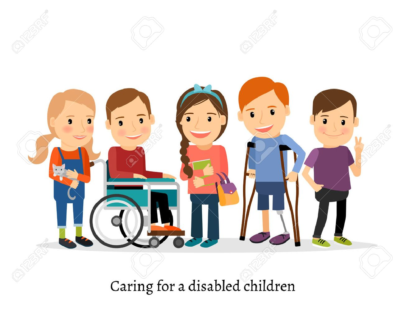 Disabled children or handicapped children with friends. Children with special needs vector illustration - 55149308