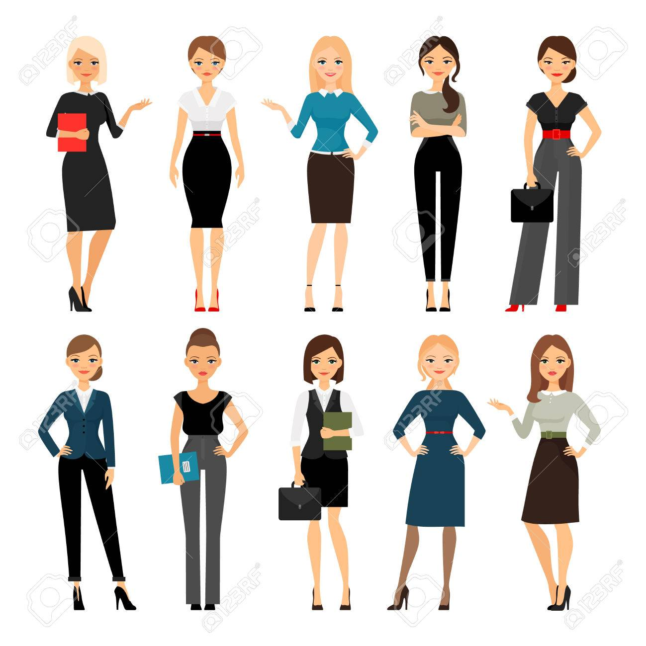 Women in office clothes. Beautiful woman in business clothes. Vector illustration - 55149307