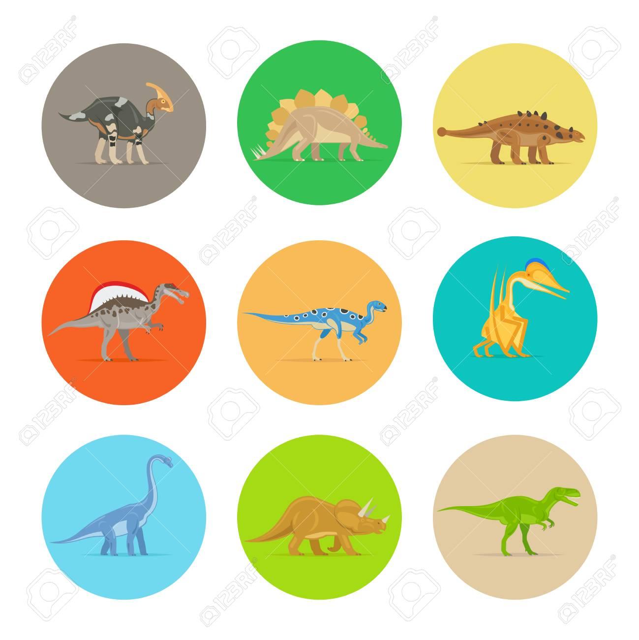 Iconos De Los Dinosaurios De Colores Planos. Los Diferentes Tipos De ...