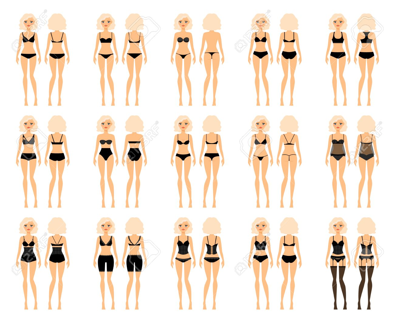 Types Of Woman Underwear. Pretty Girl In Bra And Panties Vector ...