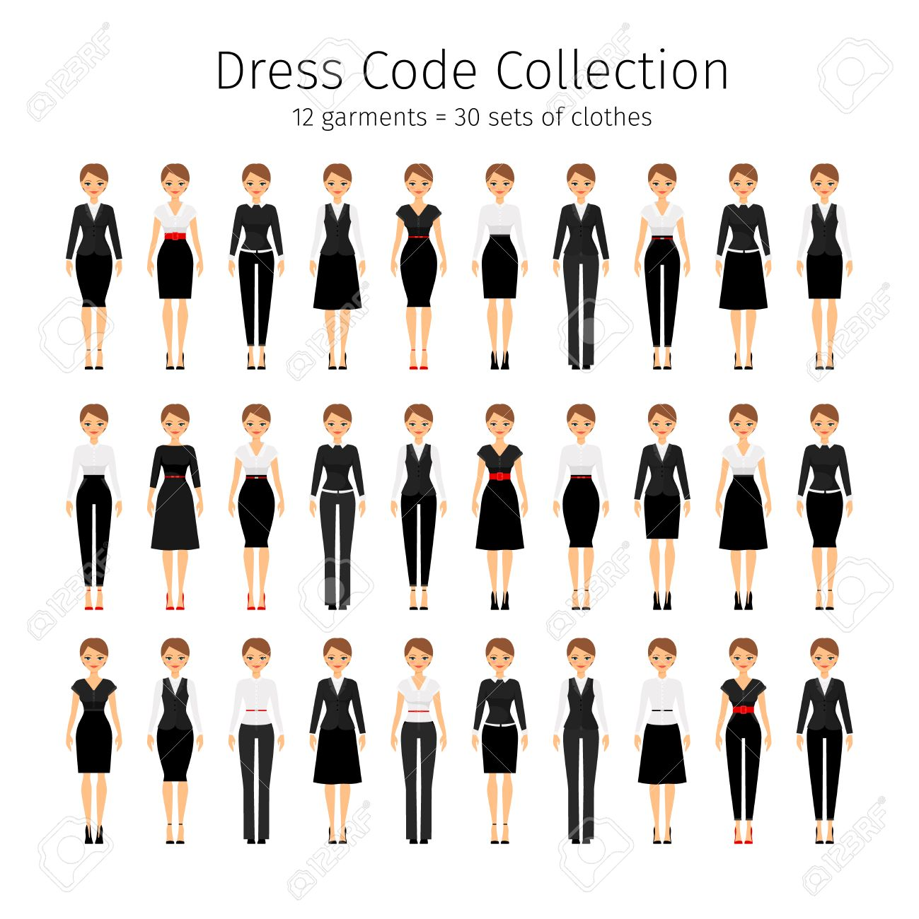 Business Woman Collection Women Dress Code Vector Set Royalty Free