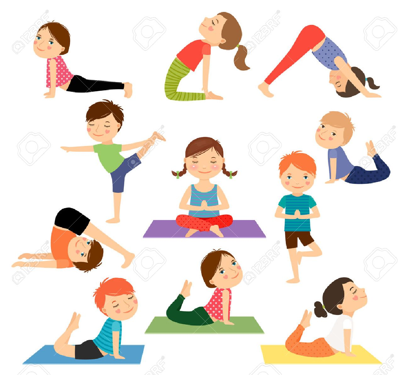 Children Yoga Kids Doing Yoga In Different Yoga Poses Vector Royalty Free Cliparts Vectors And Stock Illustration Image 55346132