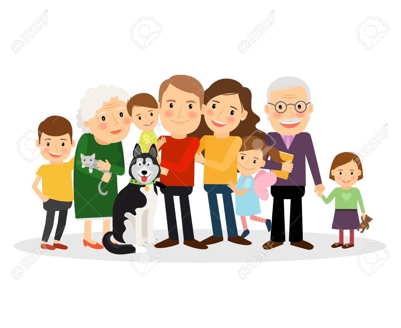 Cartoon family portrait. Big family together. Vector illustration - 55346135