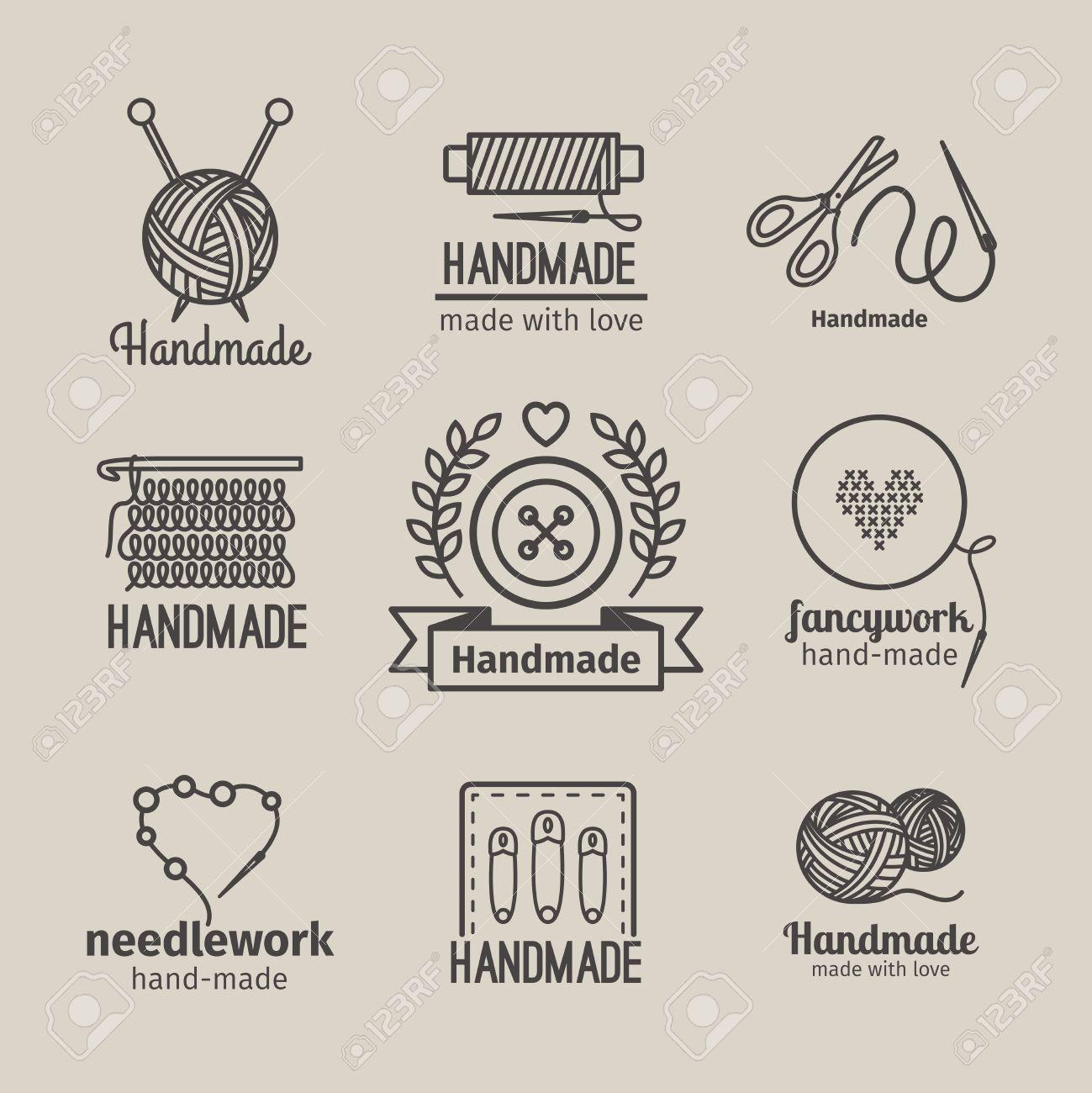 Handmade line vintage logo set. Handmade retro badges or handmade outline labels. Knitwear and sewing symbols. Vector illustration - 55346142