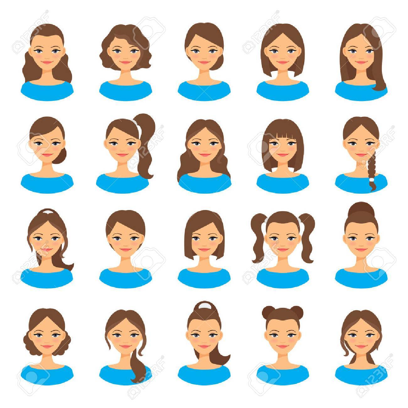 Womens Hairstyles Young Woman With Various Hair Styles Illustration