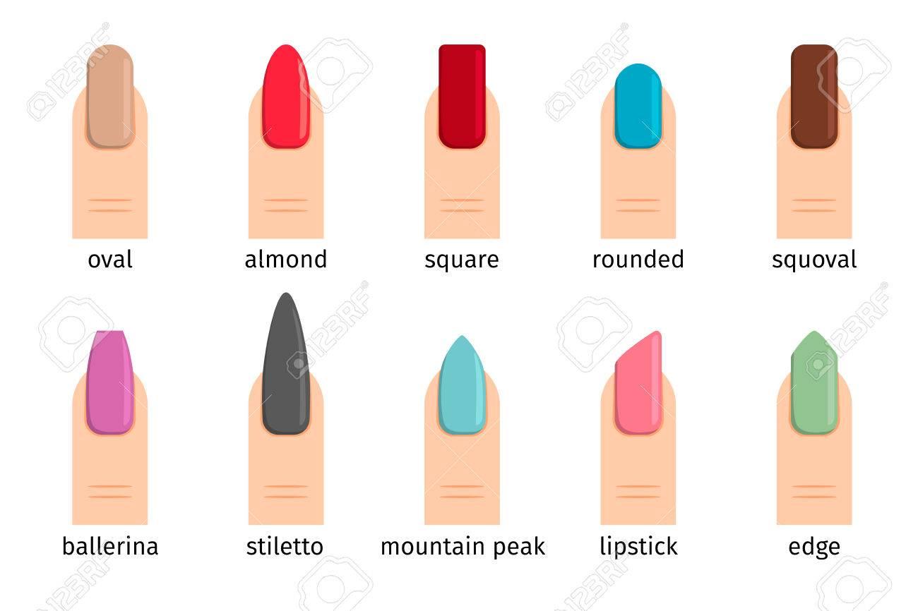 Nail Shape Icons. Types Of Fashion Nail Shapes. Royalty Free ...