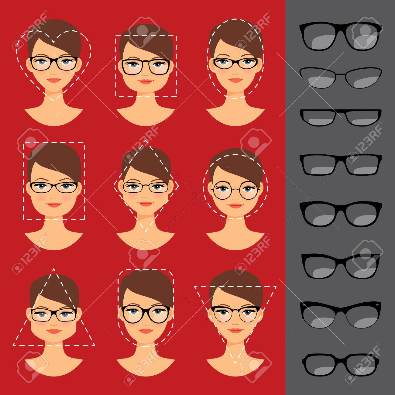 Different glasses shapes for different face shapes. illustration - 56382080