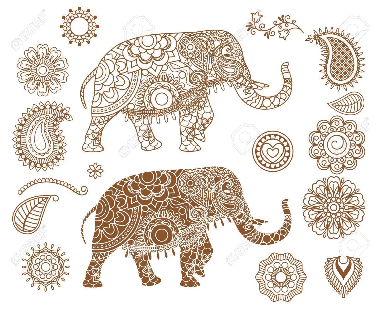 Indian Elephant With Mehendi Patterns Isolated Ethnic Henna