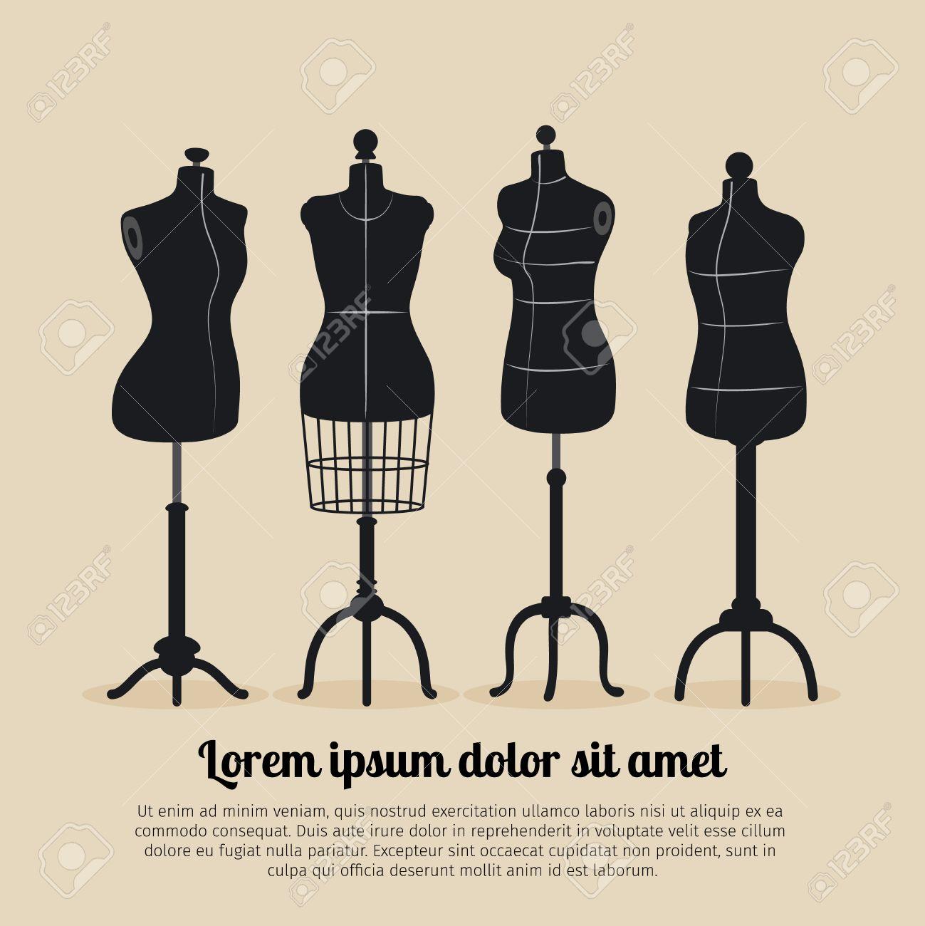 Female body vintage mannequin set. Tailors mannequins illustration - 56382088