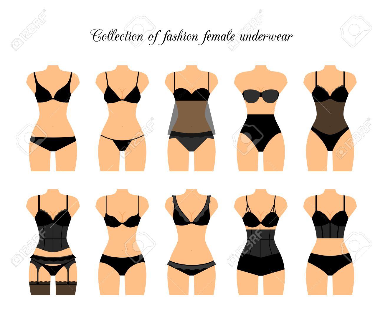 15bbb79bf122 Foto de archivo - Ropa interior femenina o conjunto de ropa interior  femenina. ilustración vectorial