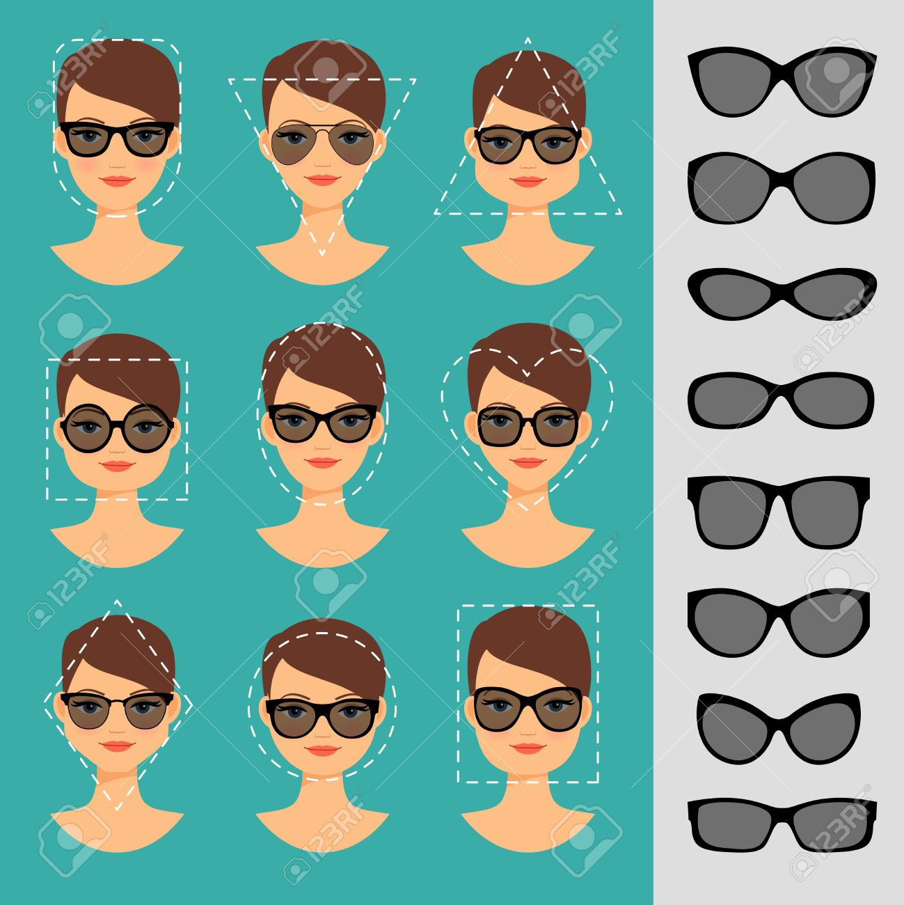 6b9f0507fb9 Womens Sunglasses Shapes for different face shapes vector illustration Stock  Vector - 56467596
