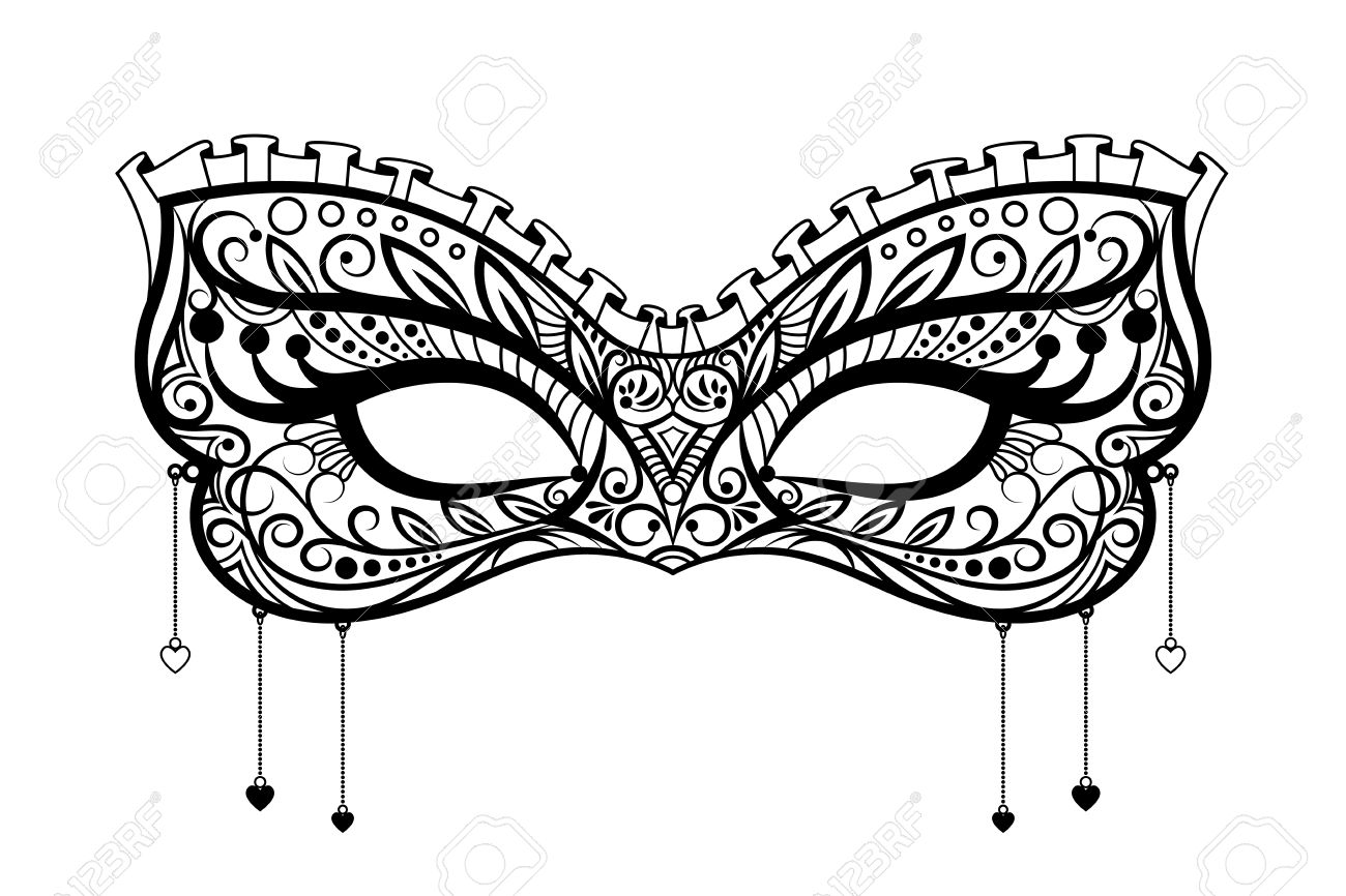 Elegant Carnival Mask. Black Ornate Lace Masquerade Mask. Vector ...