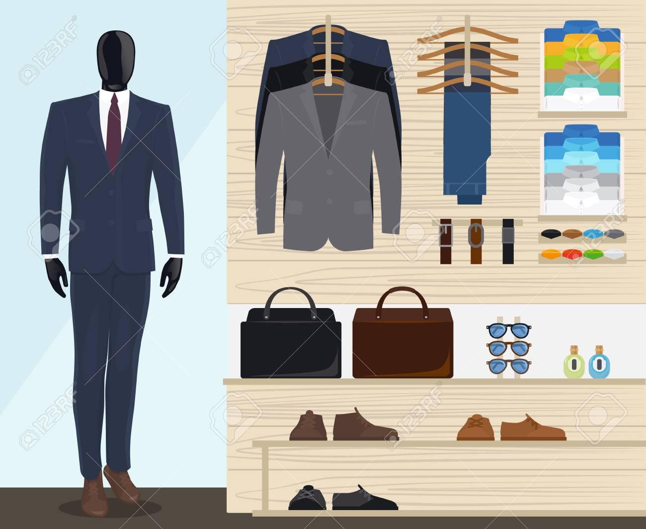 5edbab26d El hombre ropa tienda de ilustración vectorial. tienda de ropa para hombre