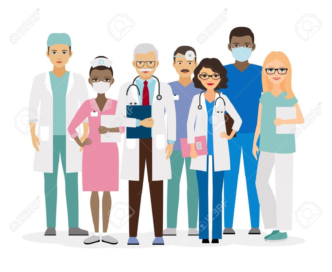 Medical team. Group of hospital workers illustration - 57502643