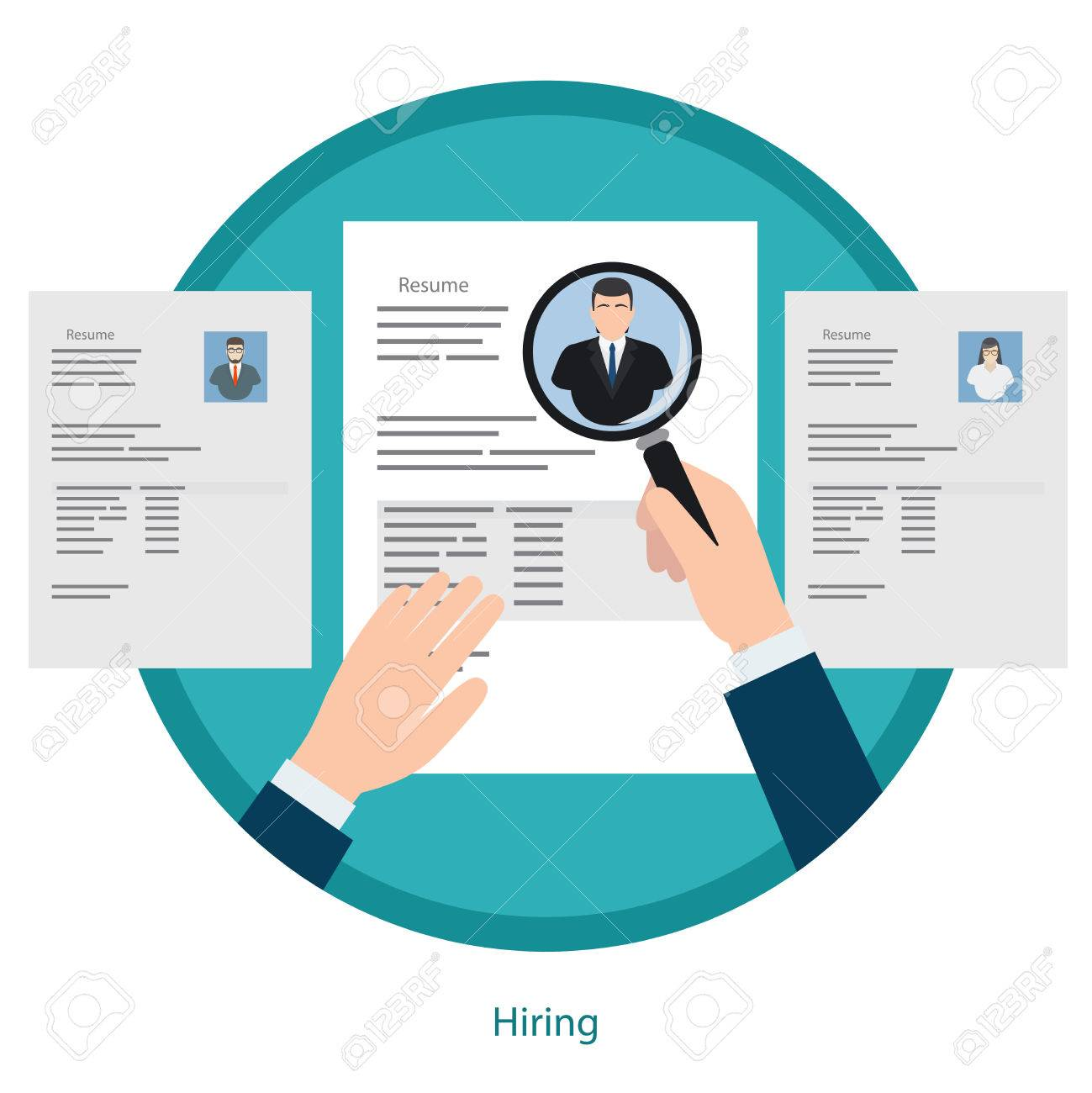 Recruitment concept hand zoom magnifying glass picking business hand zoom magnifying glass picking business person resume vector illustration stock vector altavistaventures Gallery
