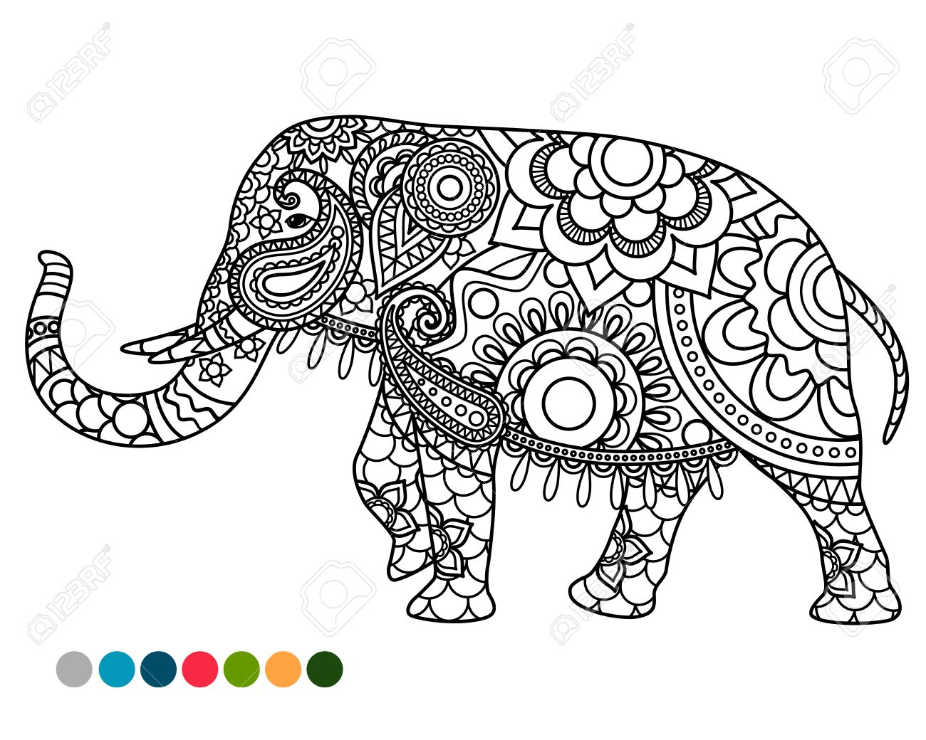 Elephant Decorated Mandala Ornament Coloring Page With Colors Samples Stock Vector
