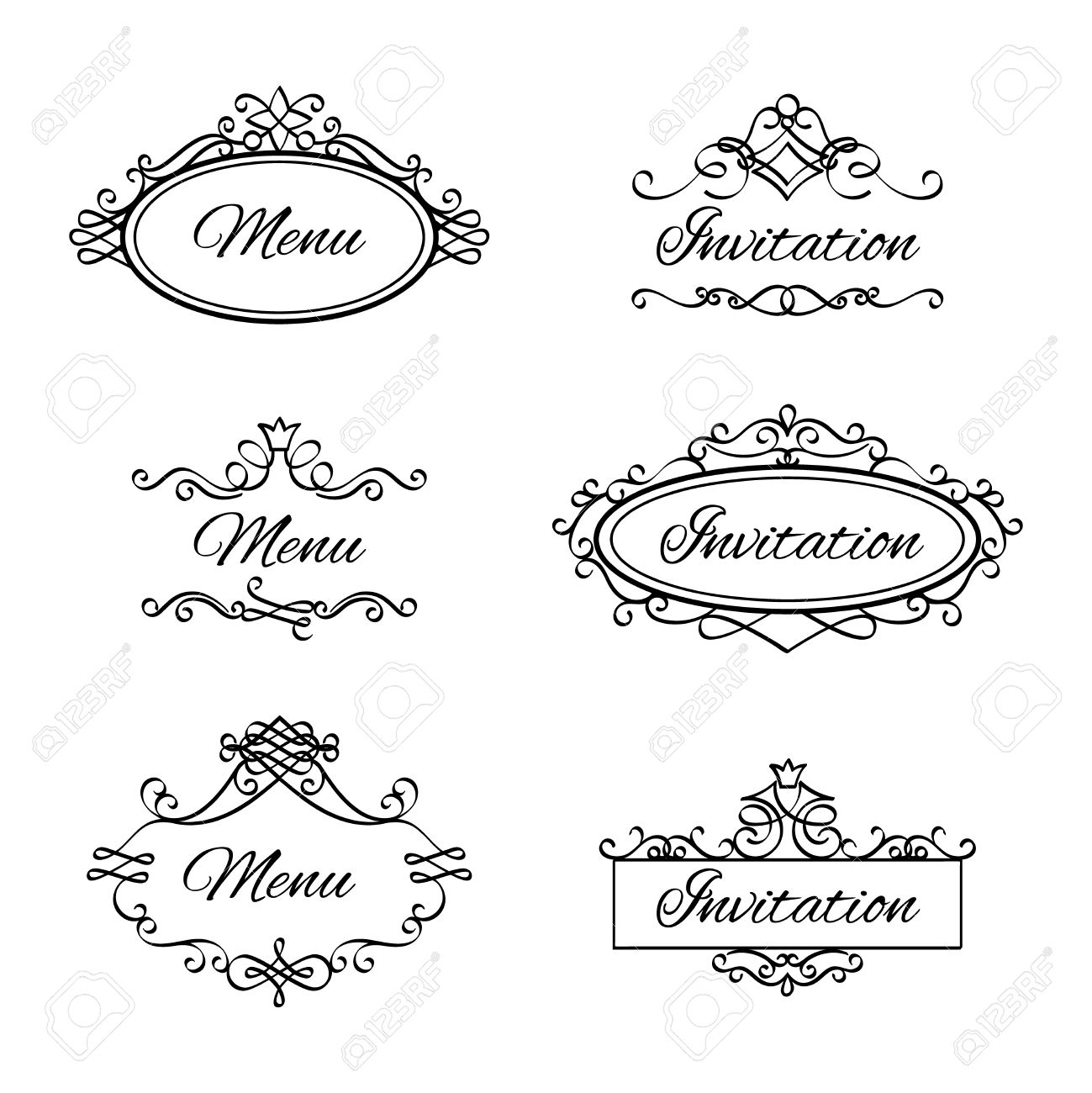 Calligraphic vignettes for menu and flourishes flourishes frames calligraphic vignettes for menu and flourishes flourishes frames for wedding invitation vector illustration stock vector stopboris Images
