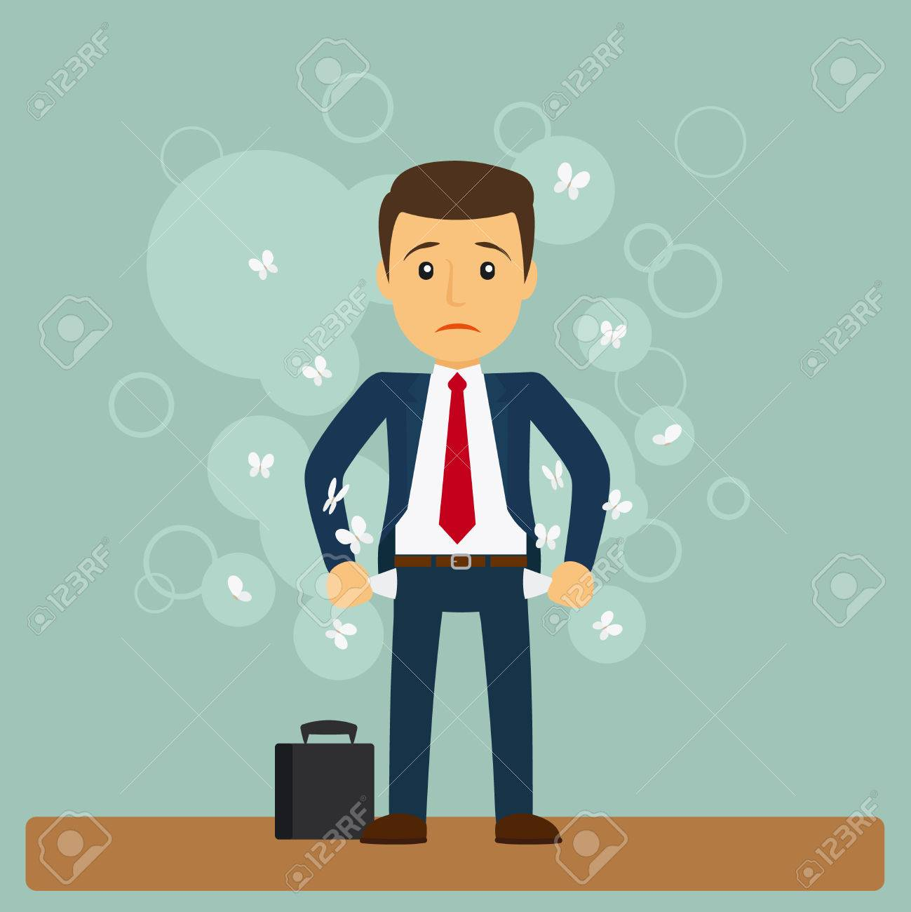 Businessman has no money. Business man standing with his pockets out. Vector illustration - 58582321