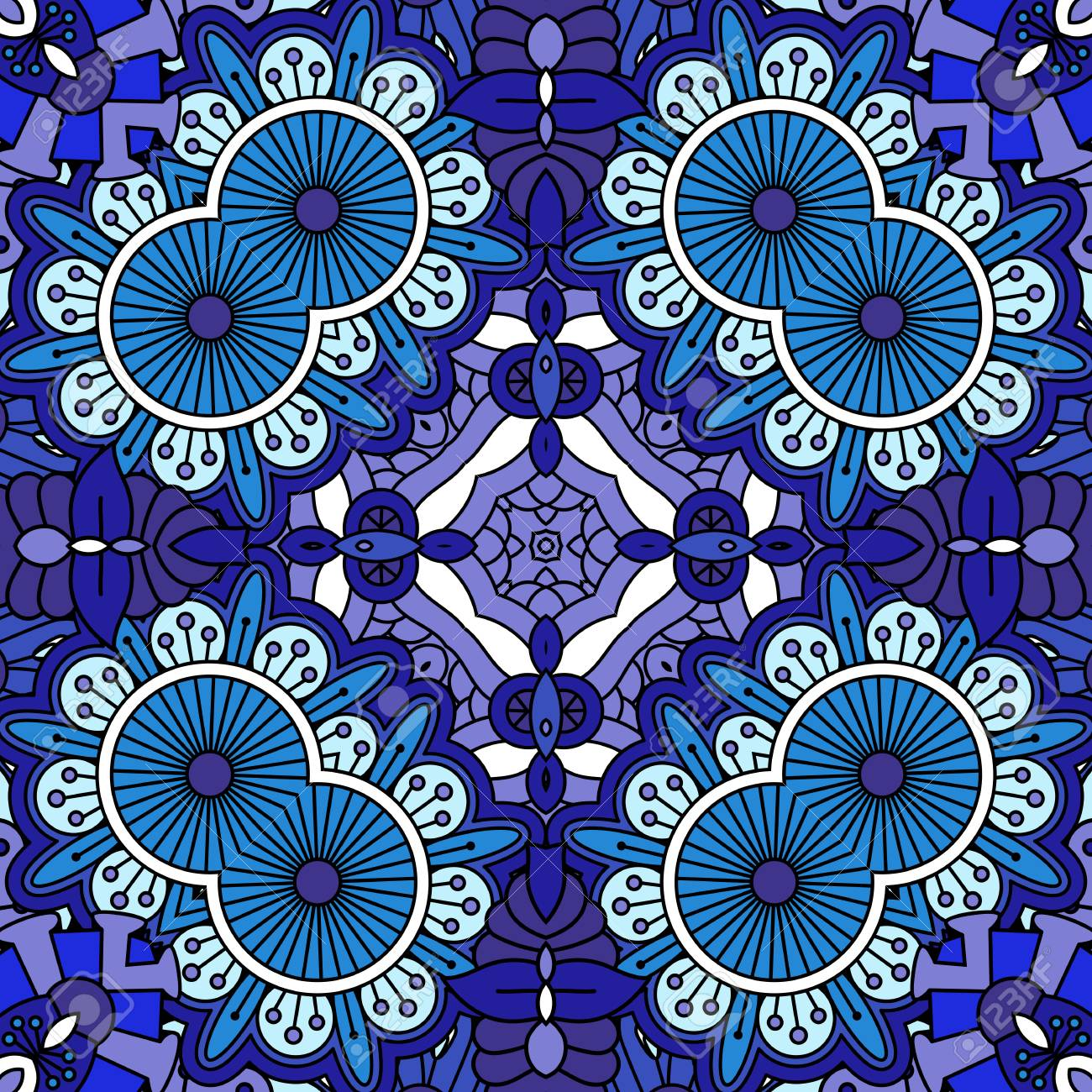 Intricate Geometric Blue And Purple Symmetrical Pattern With ...