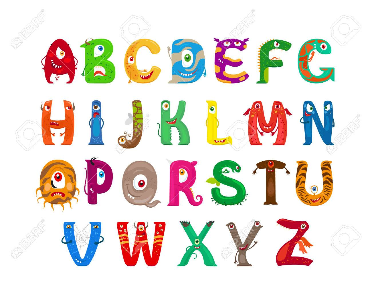 Monster alphabet. Vector funny monster characters abc vector - 59099609