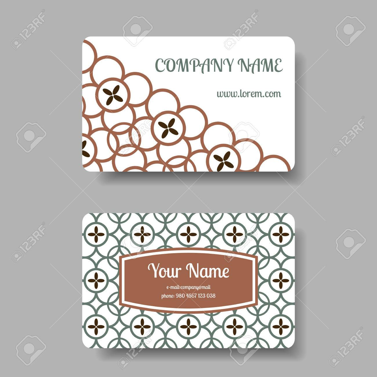 Vintage Business Card Collection With Chinese Ornament. Vector ...