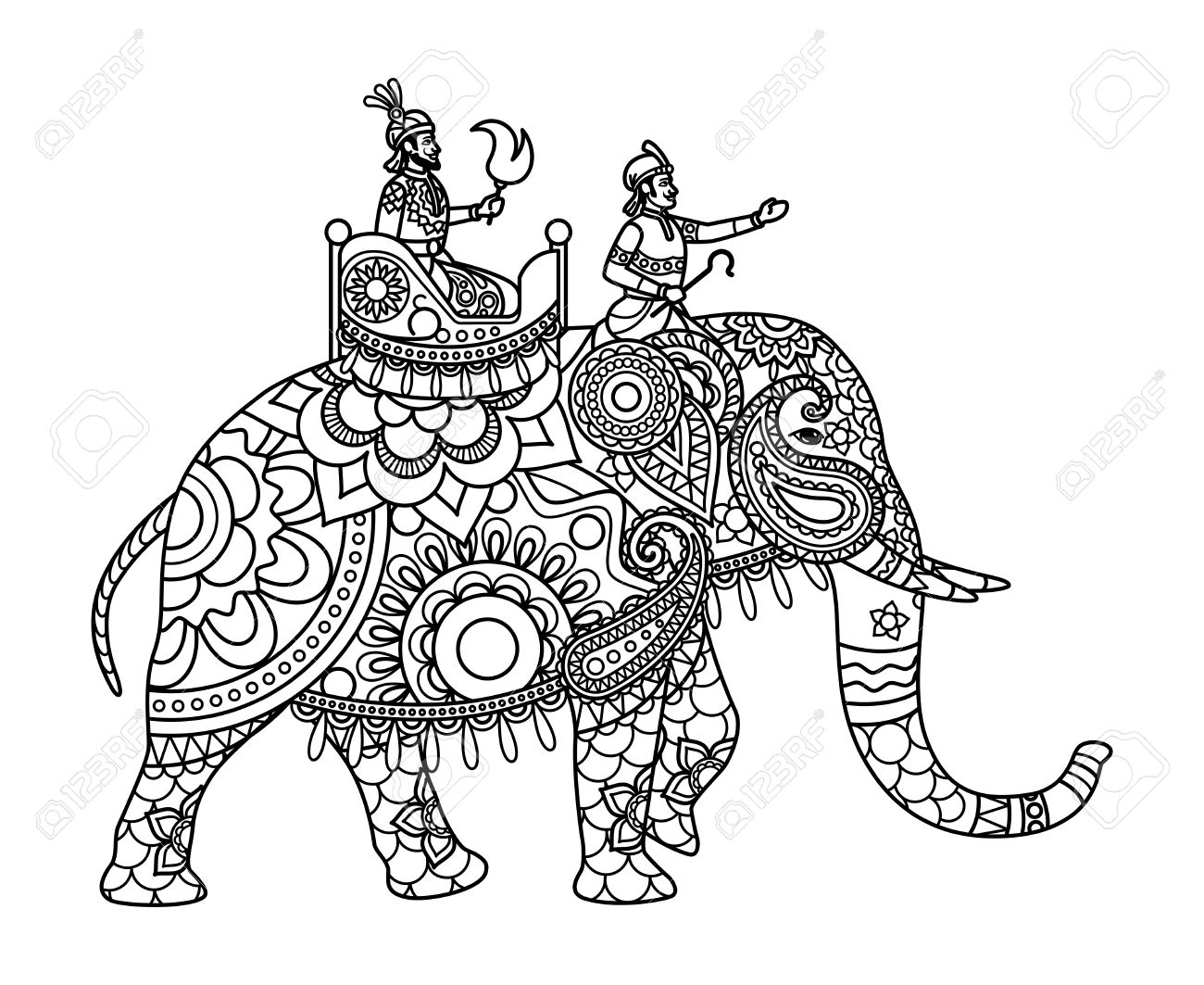 Indian Maharajah On The Elephant Coloring Pages Template. Vector ...