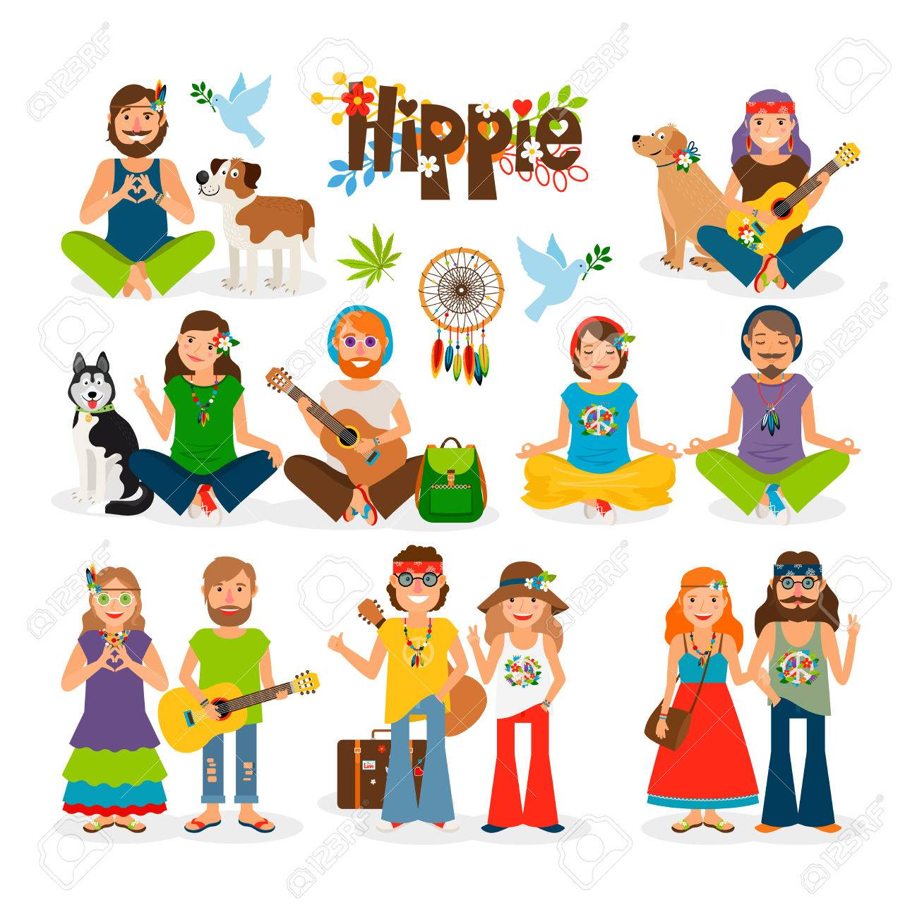 Hippie vector illustration. Barefoot man with flowers and dog and hippie girl - 60439353