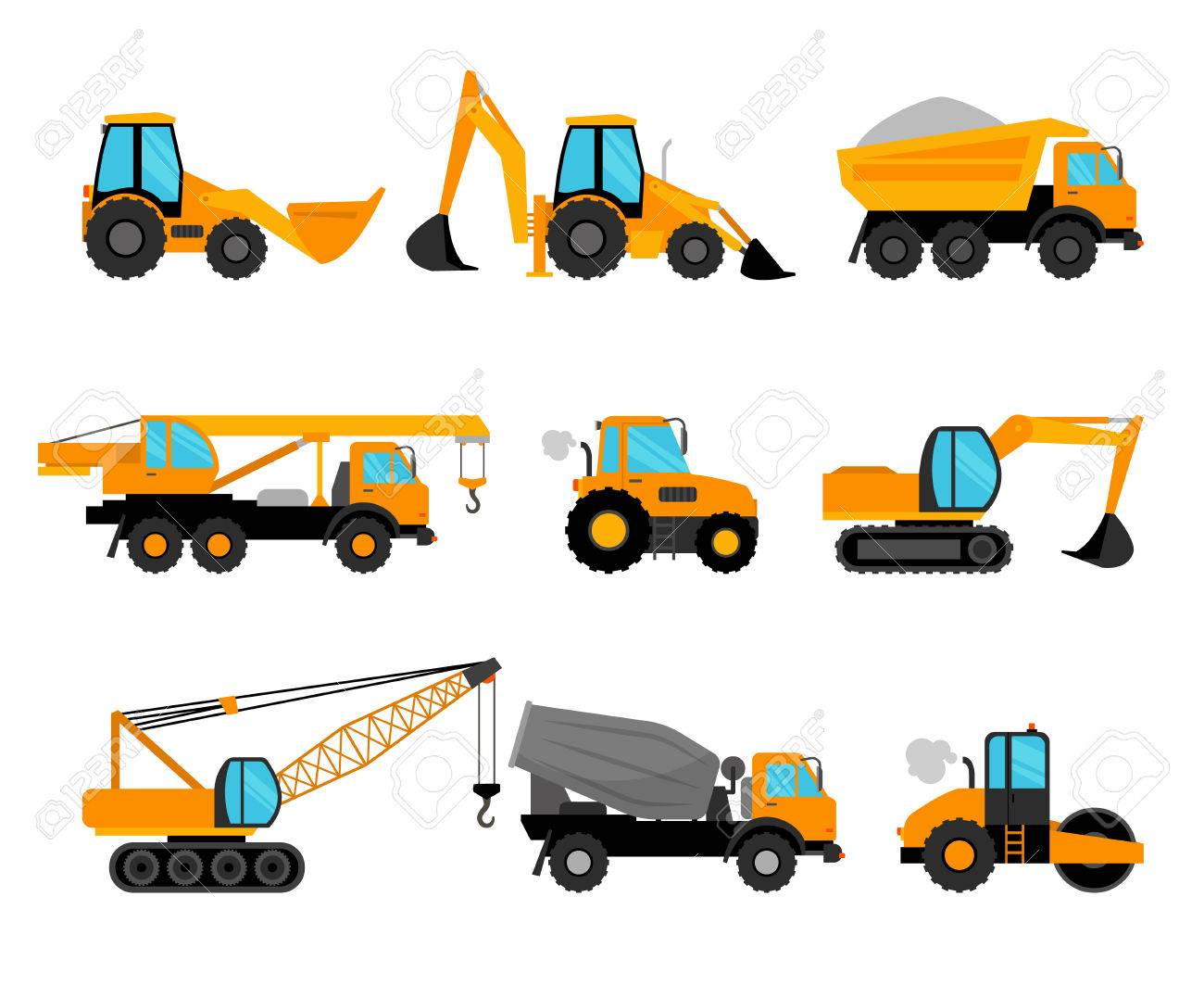 Construction Machinery And Building Construction Equipment Icons