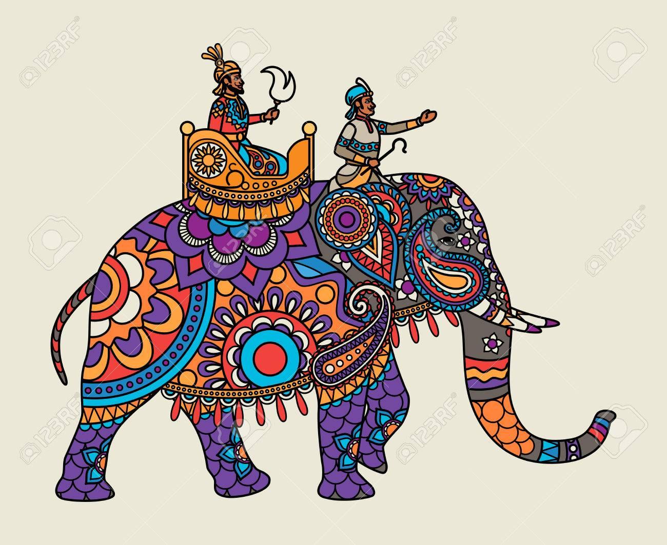 Indian ornate maharajah on the elephant. Vector illustration - 60438980