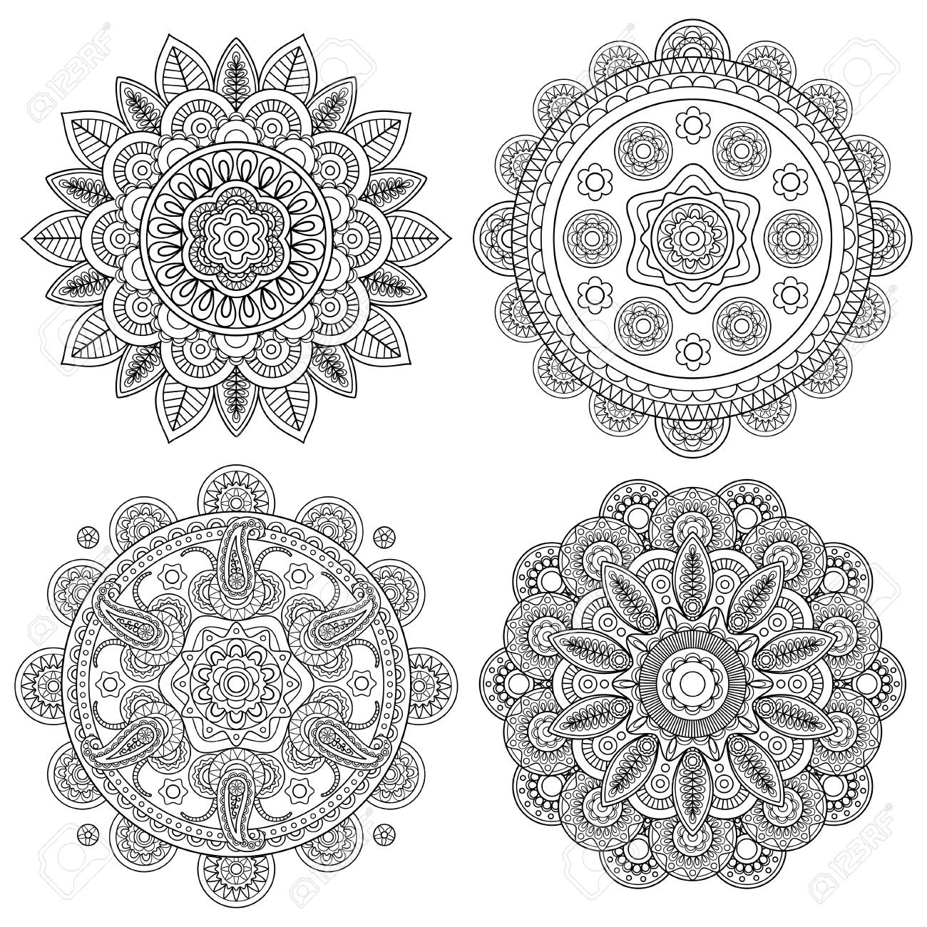 Set Of Indian Boho Floral Mandalas, Coloring Pages Template ...