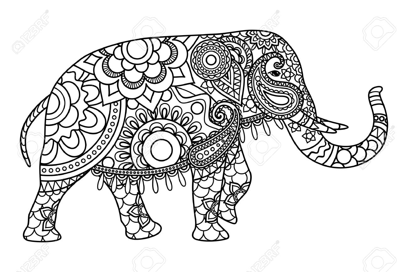 Indian Elephant Coloring Pages Template. Vector Illustration Royalty ...