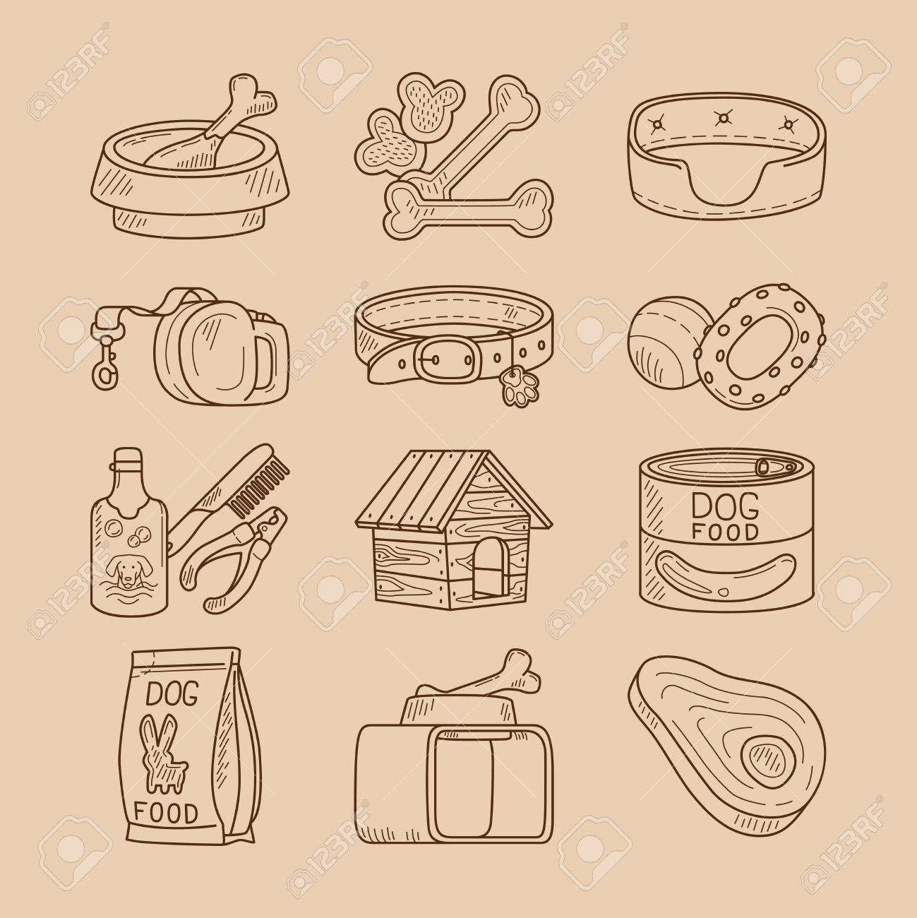 Dog Doodle Signs Hand Drawn Food And Toys For Dogs Vector Icons