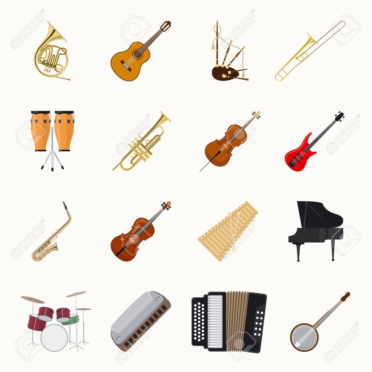 Musical instruments icons isolated on white background. Orchestra music band vector illustration - 61321393