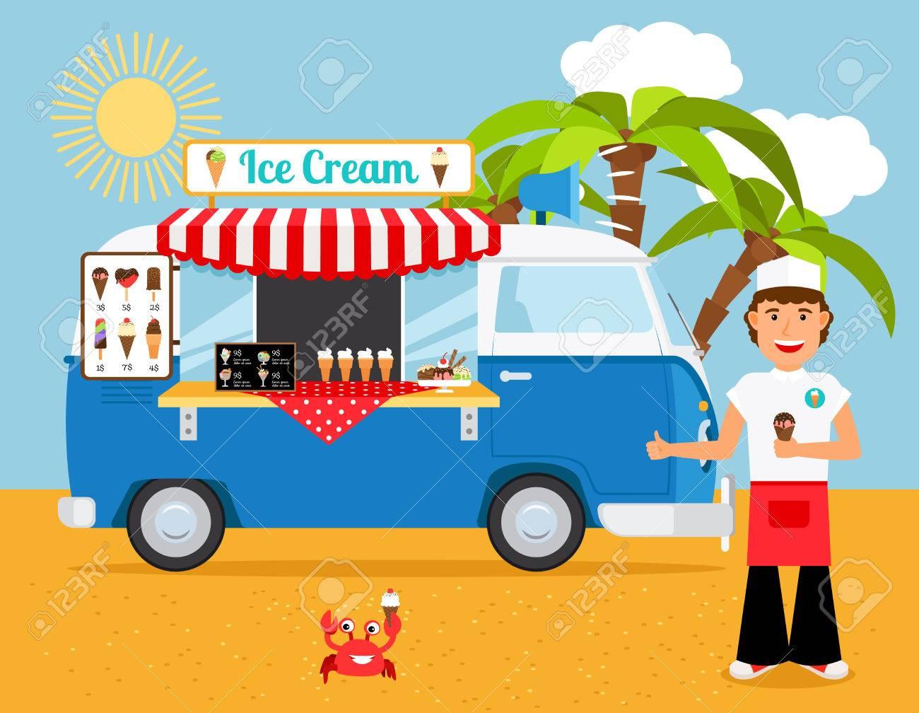 Ice Cream Truck Vector Illustration Iceman And Icecream Van On Sandy Beach With Palm Trees