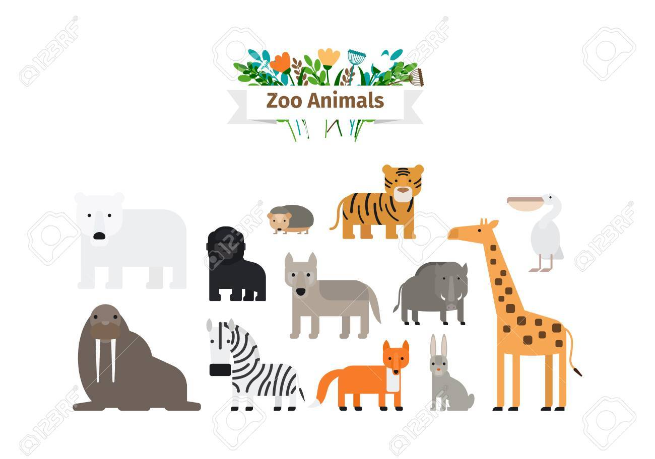 Zoo Animals Flat Design Colorful Vector Icons Set - 61621444