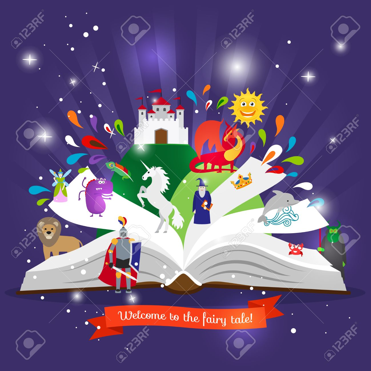 Fairy tale book. Open book with cartoon fairy tales characters vector illustration - 61832965