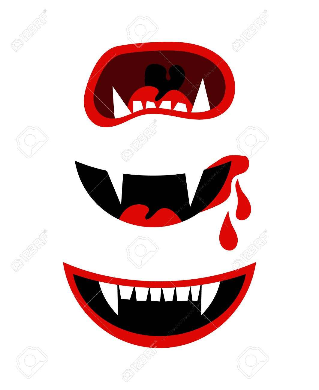 Halloween Vampire Fangs Clipart.Vampire Mouth With Fangs Vector Halloween Horror Teeth Isolated