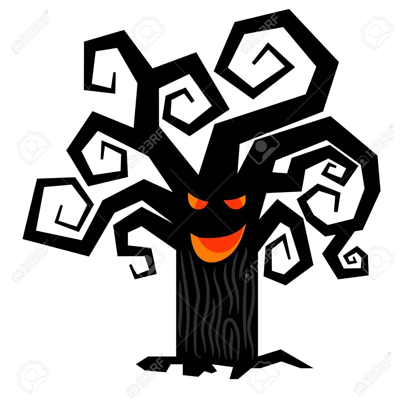 scary halloween tree vector spooky creepy dark treesisolated