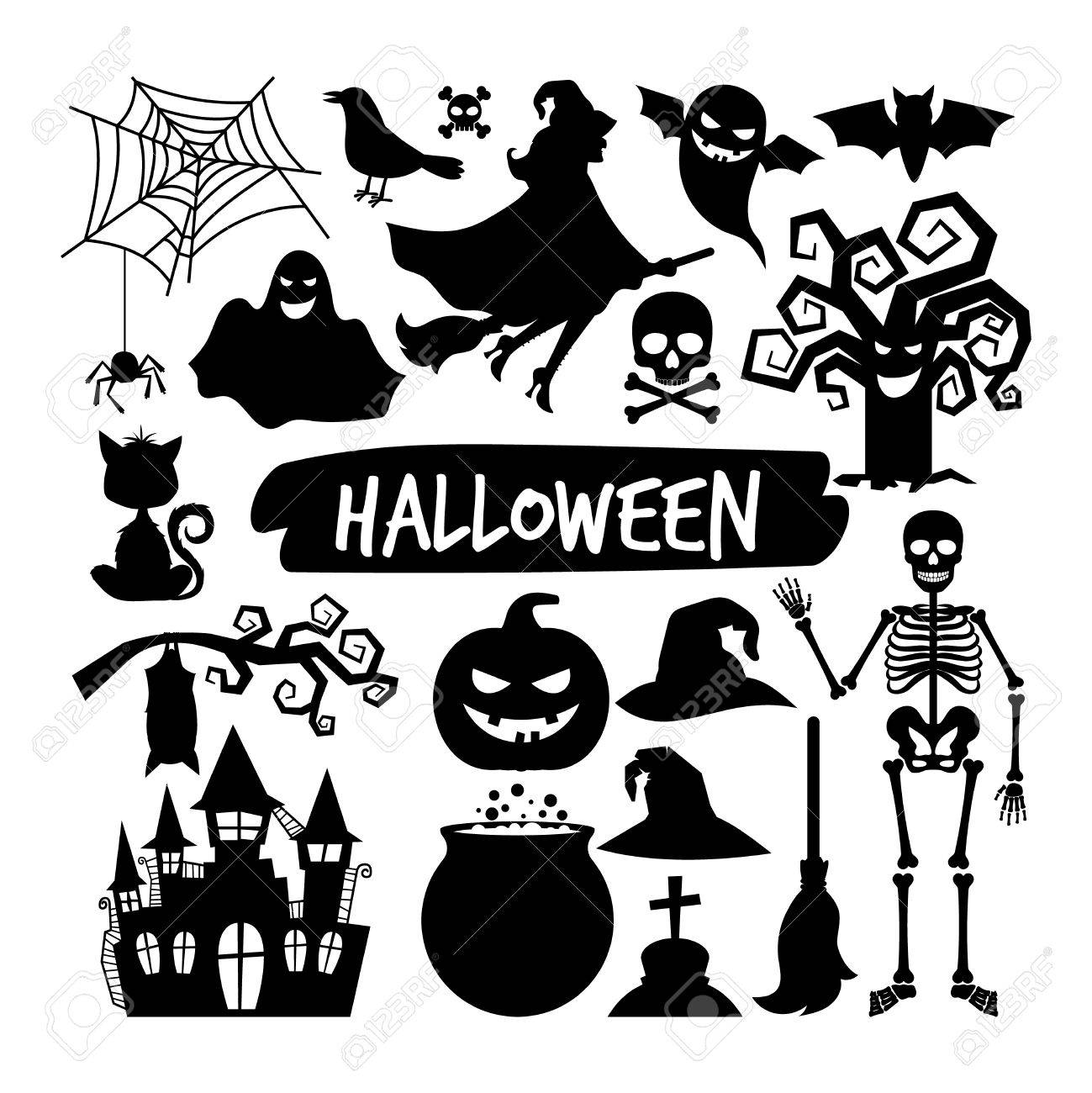 Halloween Vector Black And White.Halloween Black Silhouettes Happy Halloween Vector Night Icons