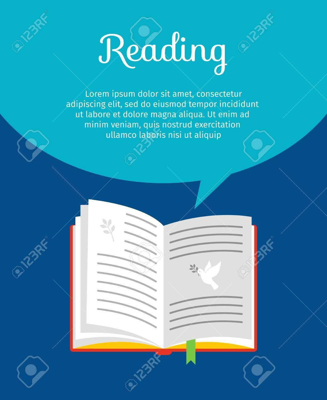 Concept De Livre De Lecture Livre à Main Avec Colombe Et Citation Illustration Vectorielle Plane Bulle