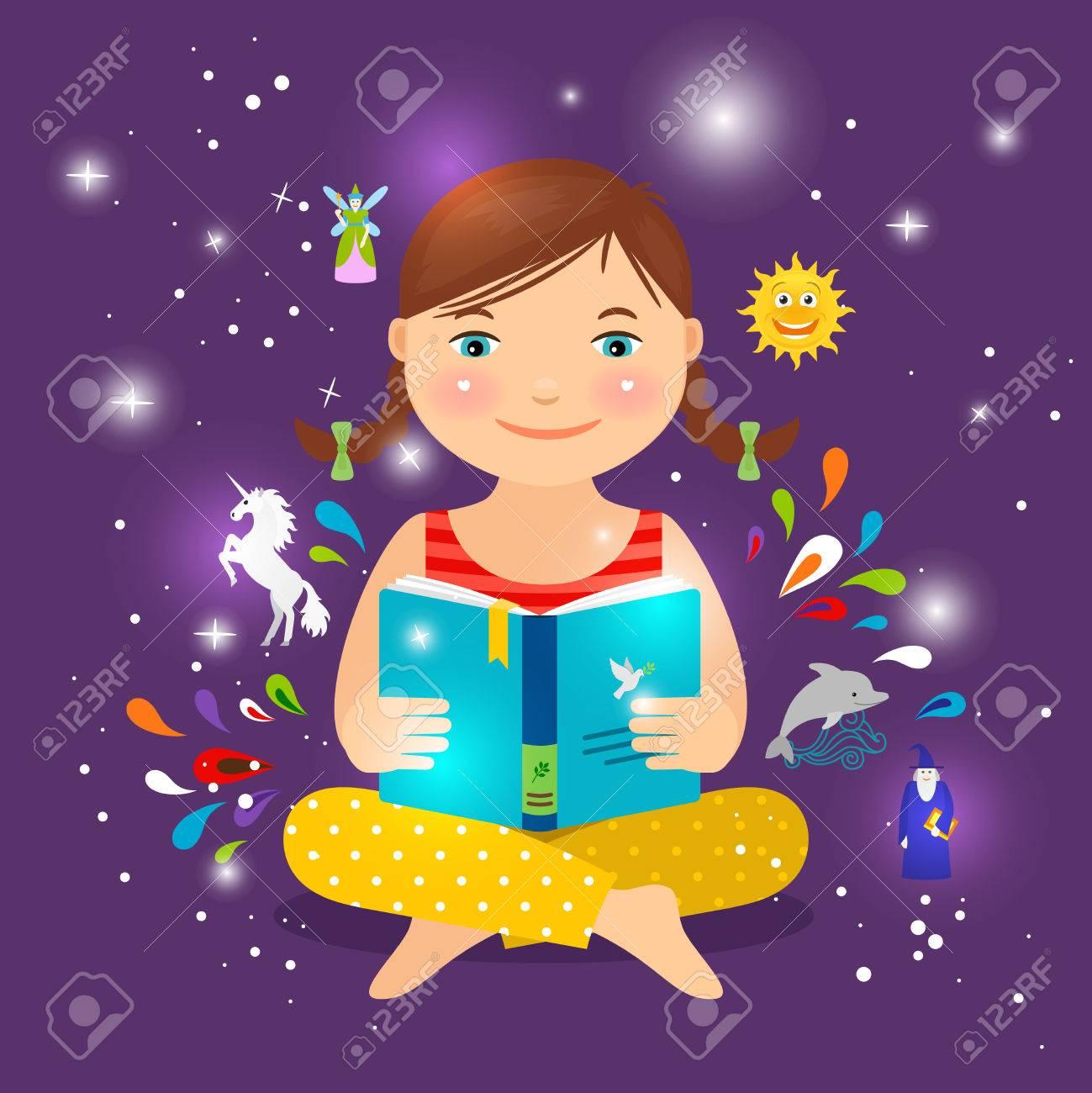 Mignonne Petite Fille Lisant Livre Sur La Magie La Licorne Et La Fee Vector Illustration