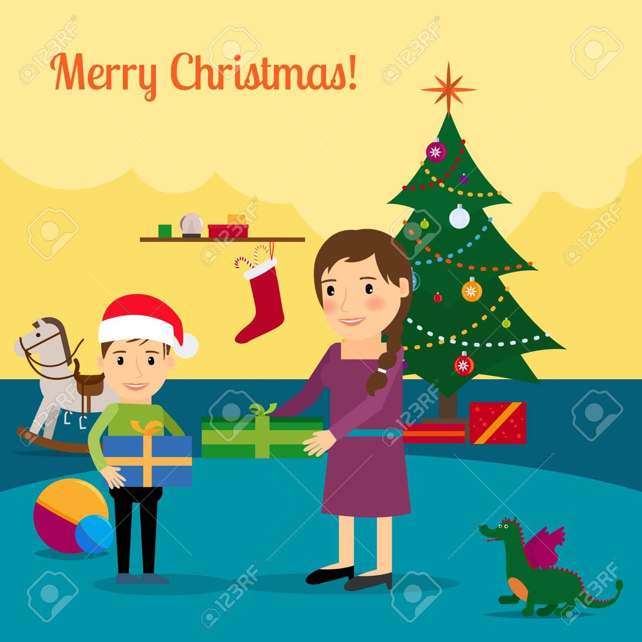 Mother Christmas Cartoon.Merry Christmas Cartoon Illustration With Christmas Tree Mother