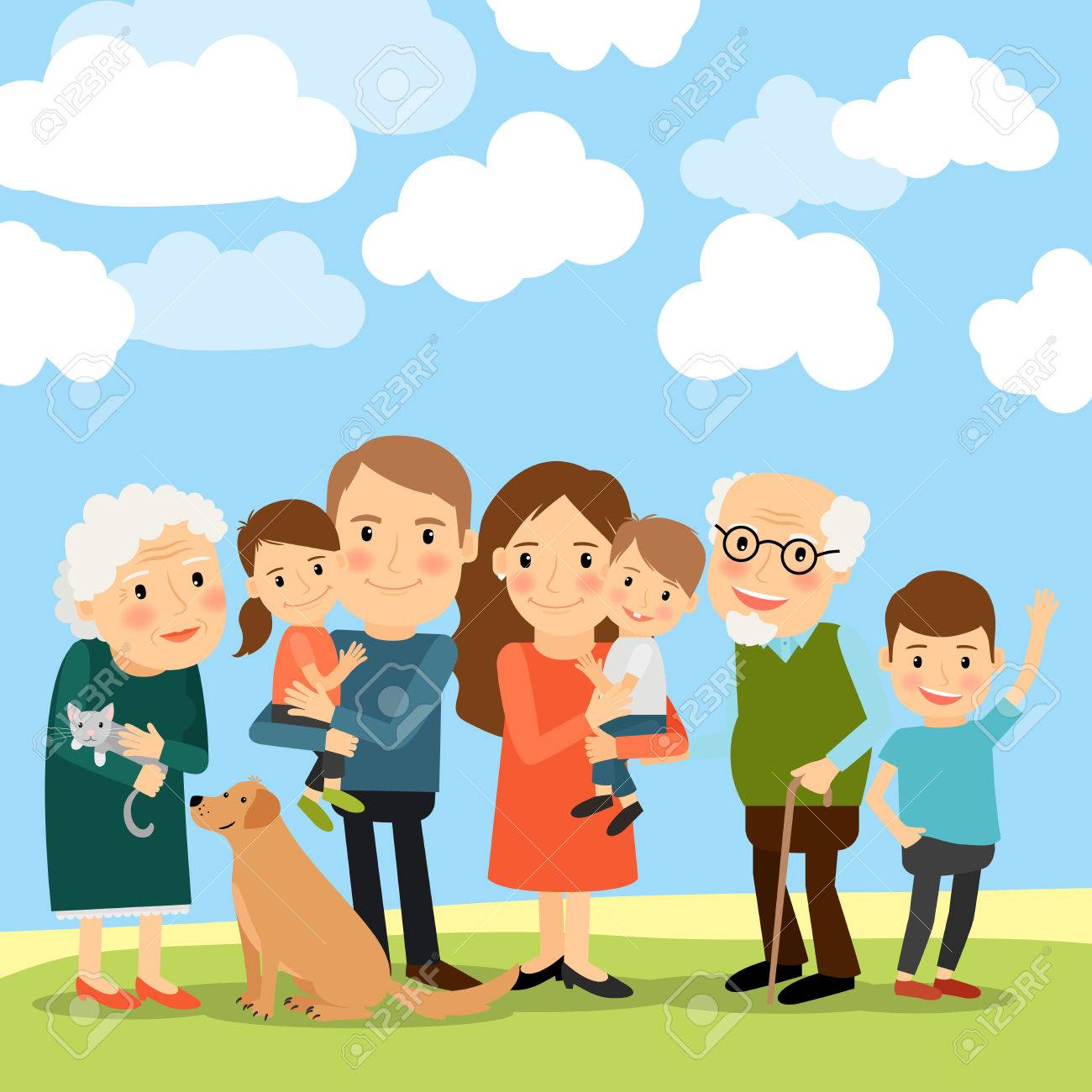 Big family and sky with clouds vector illustration - 63636834