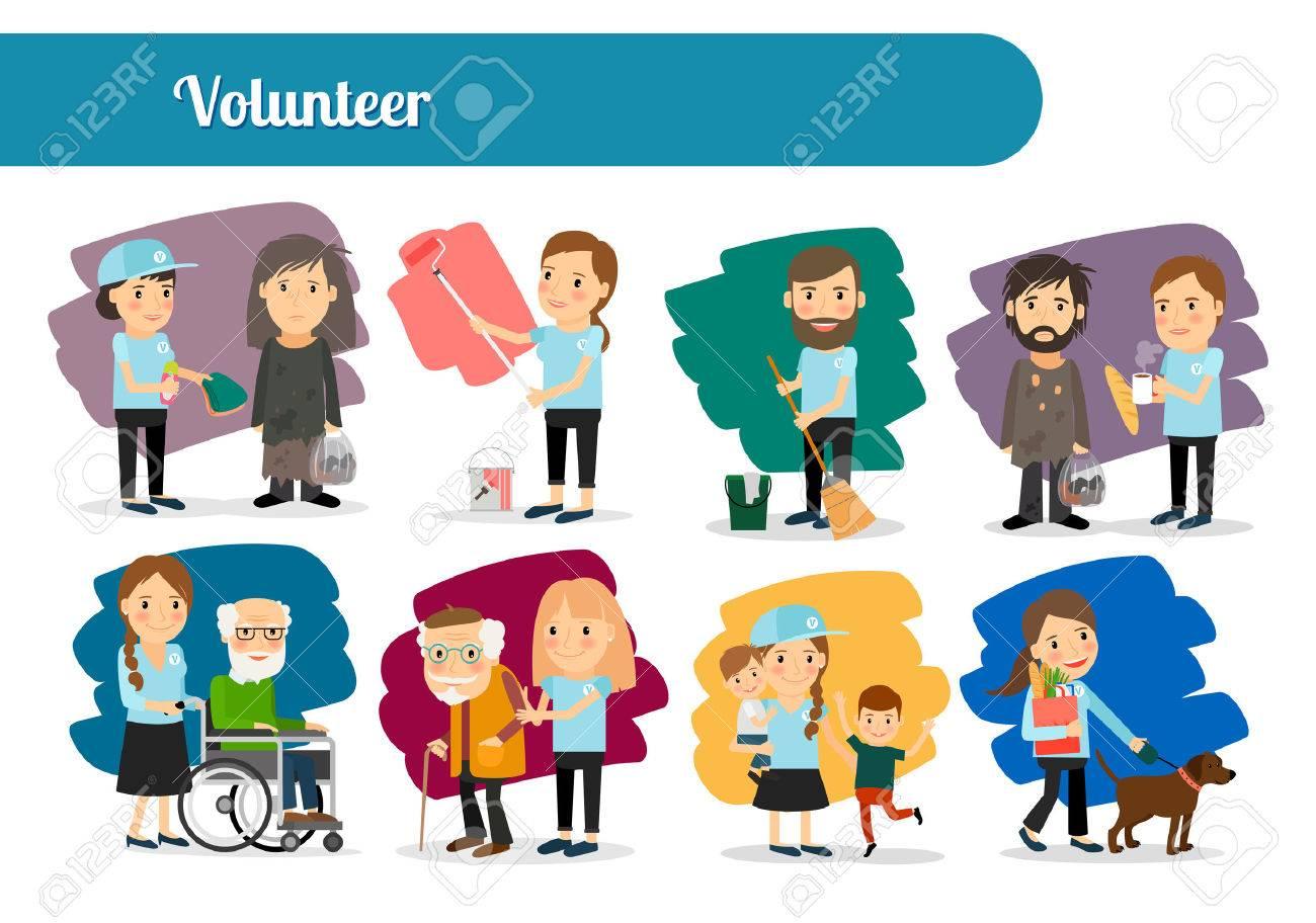 Volunteer characters big icons set. Vector illustration - 63636836