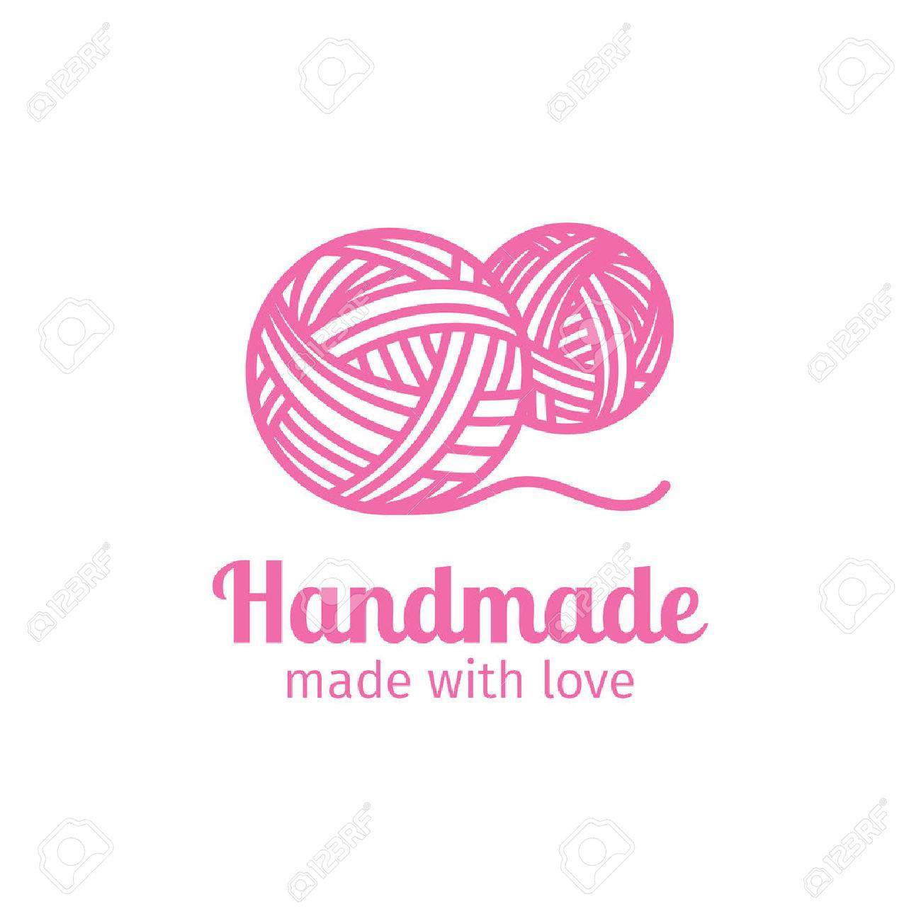 Handmade Thin Line Icon Made With Love Vector Illustration Stock