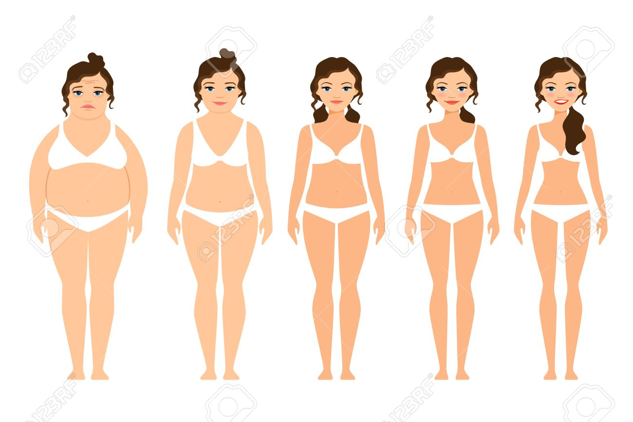 Cartoon woman before and after diet vector illustration - 63790490