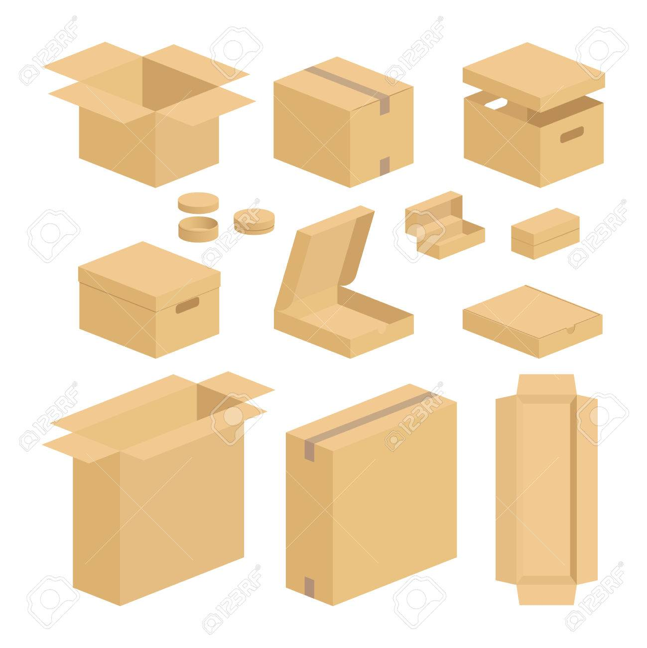 carton box pack set closed and opened brown carton packing boxes