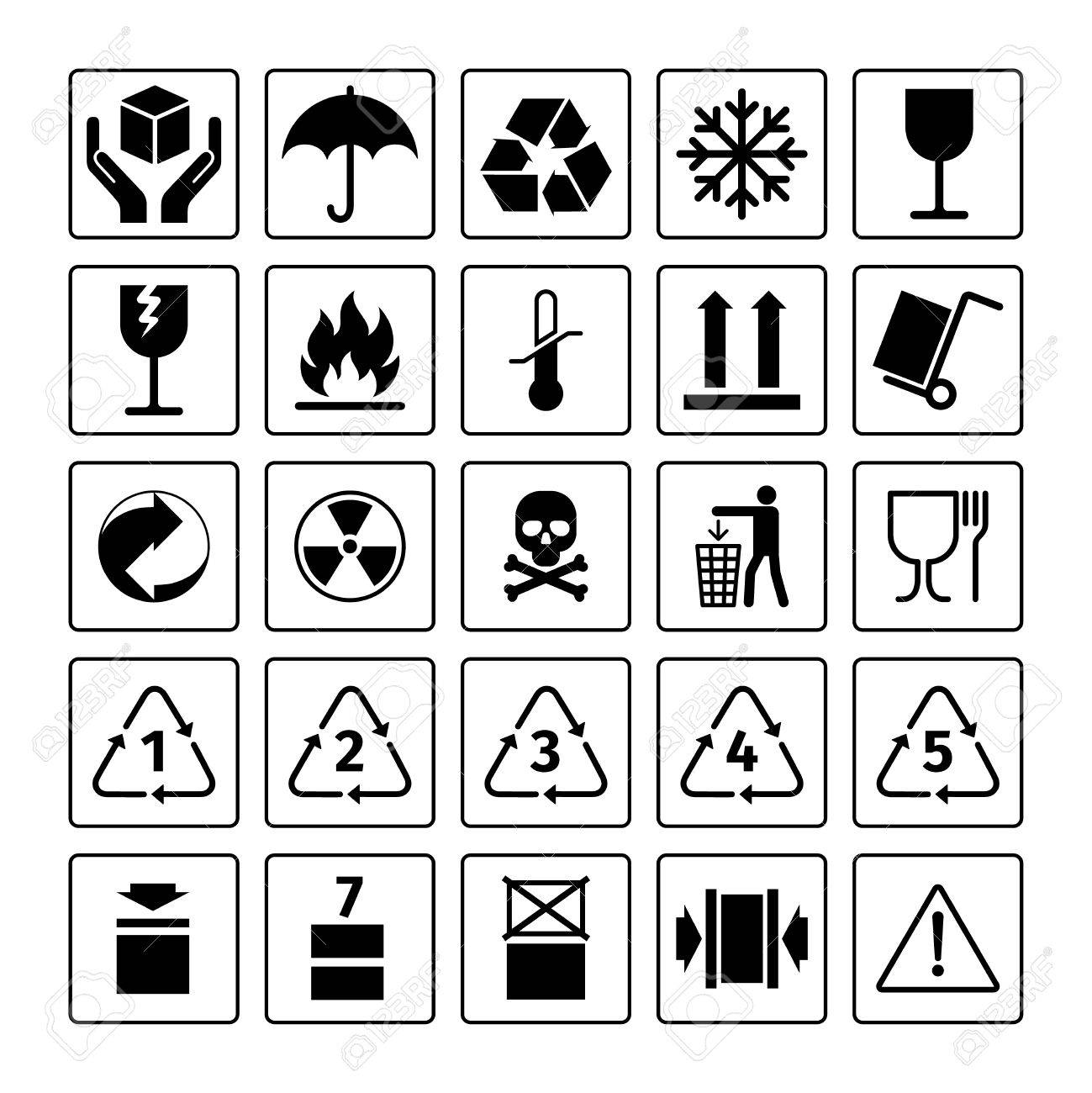Packaging symbols vector package icons with waste recycling packaging symbols vector package icons with waste recycling and fragile flammable and this side buycottarizona Images