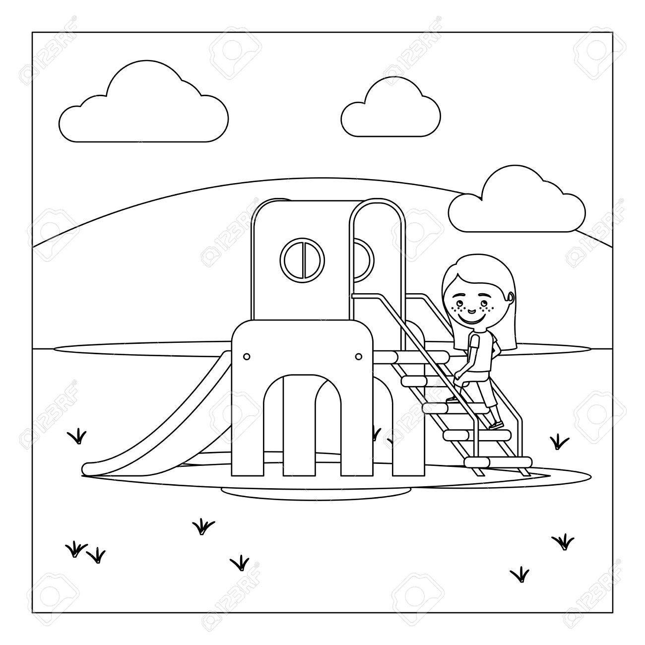 Coloring book page of a playground - Coloring Book Page Design With Kid On Playground Stock Vector 63929466