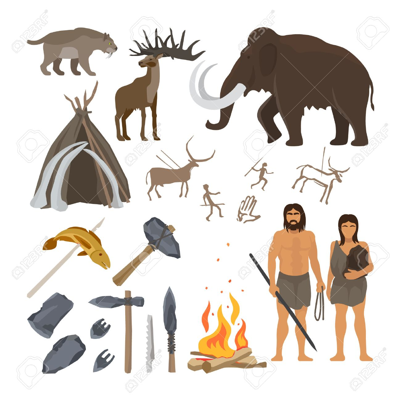 Stone age vector isolated on white background. Caveman or troglodyte, mammoth and bonfire, prehistoric aged primitive tools - 64138493